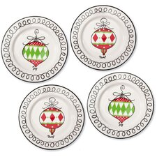 Holiday Festivities Hand Painted Ceramic Round Salad Platter (Set of 4)