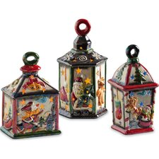 <strong>Cypress Home</strong> Holiday Lanterns Ceramic LED Decorative House (Set of 3)