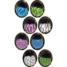Zebra / Leopard Glass Ball Ornament with Maribou (Set of 8)