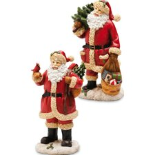 Vintage Santa Polystone Table Decor (Set of 2)