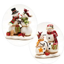 Happy Holly Days Snowman Polystone Table Decor (Set of 2)