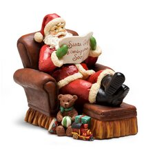 Vintage Santa on Chair Polystone Table Decor