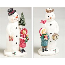 Vintage Santa Snowman Polystone Glitter Table Decor (Set of 2)