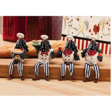 4 Piece Rooster Shelf Sitter Figurine