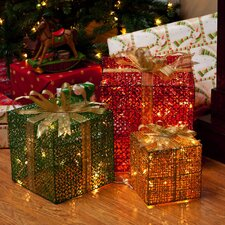 Holiday Festivities Metal Glitter Gift Box with 72 Lights (Set of 3)
