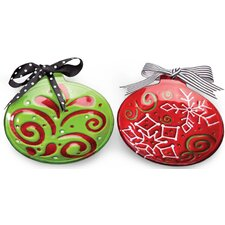 Holiday Festivities Hand Painted Round Glass Plate with Ribbon (Set of 2)