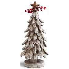 Cabin Christmas Tree Polystone Table Decor