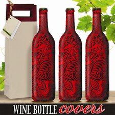 <strong>Kimco Products</strong> Scarlet Swirl Wine Bottle Cover (Set of 3)