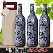 Pewter Paisley Wine Bottle Cover (Set of 3)
