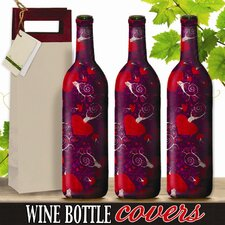 Fanciful Hearts Wine Bottle Cover (Set of 3)
