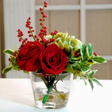 Holiday Rose Hydrangea Glass Vase