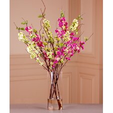 Blossom Branches in Cylinder Glass Vase