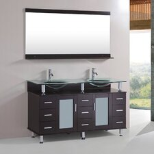 "60"" Double Sink Free Standing Bathroom Vanity Set"