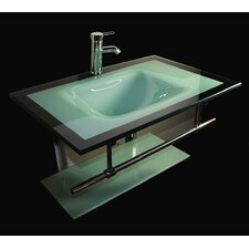 "31"" Floating Wall Mount Tempered Glass Bathroom Vanity Set"