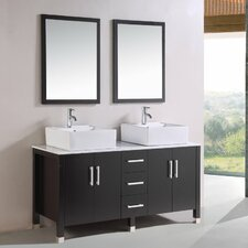 "60"" Double Vessel Sink Bathroom Vanity Set"