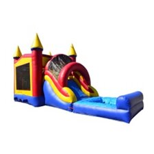 Rainbow Mega Wet/Dry Inflatable Commercial Grade Bouncy House and Slide Combo