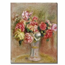 """""""Roses in a Sevres Vase"""" by Pierre Renoir Painting Print on Canvas"""
