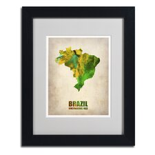 'Brazil Watercolor Map' Matted Framed Art by Naxart