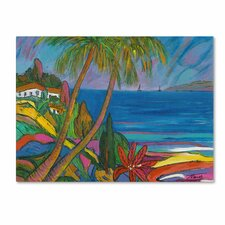 Manor Shadian 'Blue Sea with 2 Boats' Canvas Art