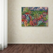 """Manor Shadian """"Houses with Round Trees"""" Canvas Art"""