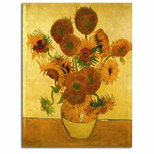 'Vase with Sunflowers' by Vincent Van Gogh Painting Print on Canvas