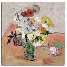 'Roses and Anemones, 1890' by Vincent van Gogh Painting Print on Canvas