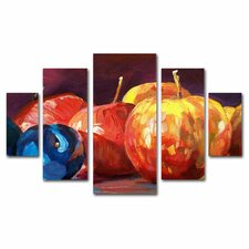 'Ripe Plums and Apples' by David Lloyd Glover 5 Piece Panel Art Set