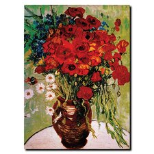 <strong>Trademark Fine Art</strong> Daisie and Poppies by Vincent Van Gogh Canvas Art