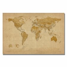 'Antique World Map' by Michael Thompsett Graphic Art on Canvas