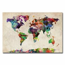 'Urban Watercolor World Map' by Michael Tompsett Graphic Art on Canvas