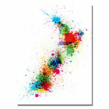 <strong>Trademark Fine Art</strong> New Zealand Paint Splashes Map Canvas Wall Art