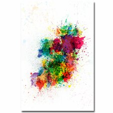 Ireland Paint Splashes Canvas Wall Art