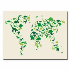 <strong>Trademark Fine Art</strong> Dinosaur World Map Canvas Wall Art