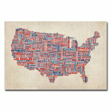 <strong>Trademark Fine Art</strong> US Cities Text Map V Canvas Wall Art