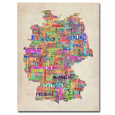 <strong>Trademark Fine Art</strong> Germany Text Map Canvas Wall Art
