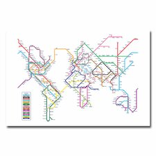 <strong>Trademark Fine Art</strong> World Map Subway Canvas Wall Art
