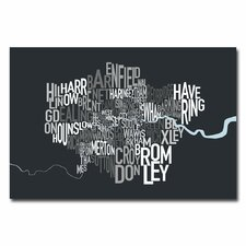 <strong>Trademark Fine Art</strong> London Borough Text Map Canvas Wall Art