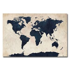 'World Map Navy' by Michael Tompsett Graphic Art on Canvas