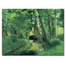"""The Little Bridge - Pontoise -, 1875"" by Camille Pissarro Painting Print on Canvas"