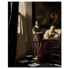 "<strong>Trademark Fine Art</strong> ""Lady Writing a Letter with Her Maid, 1670"" Canvas Art"