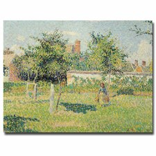 """""""Woman in the Meadow at Eragny, 1887"""" by Camille Pissarro Painting Print on Canvas"""