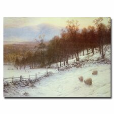 "<strong>Trademark Fine Art</strong> ""Snow Covered Fields with Sheep"" Canvas Art"