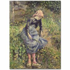 """""""Girl with a Stick, 1881"""" by Camille Pissarro Painting Print on Canvas"""