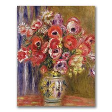 """""""Vase of Tulips and Anemones"""" by Pierre Renoir Painting Print on Canvas"""