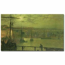 "<strong>Trademark Fine Art</strong> ""A View of Whitby Harbor at Moonlight"" Canvas Art"