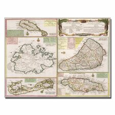 "<strong>Trademark Fine Art</strong> ""Map of English Colonies in the Caribbean, 1750"" Canvas Art"