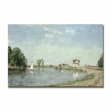 """""""At the River's Edge, 1871"""" by Camille Pissarro Painting Print on Canvas"""