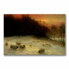 """Sheep in a Winter Landscape"" Canvas Art"
