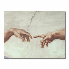 """Hands of God"" by Michelangelo Painting Print on Canvas"