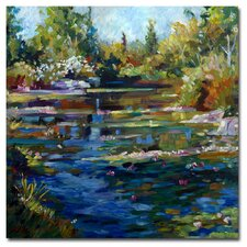'Blooming Lily Pond' Canvas Art